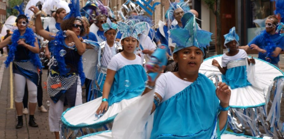 Children in fish costumes for Carnival 2013