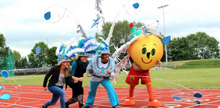 Carvinal Queen and CP Games Mascot on starting line