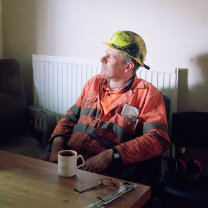 Miner Ashley Makins taking a tea break during his shift.