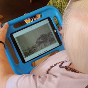 Older person using iPad