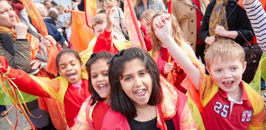 School children in a Puppet Parade